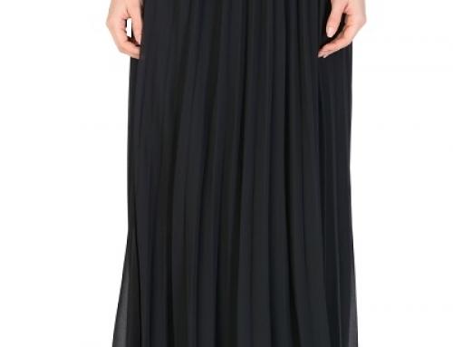 Fustă lungă neagră Scarlette LK-VDW din voal plisat cu talie elastică, căptușită