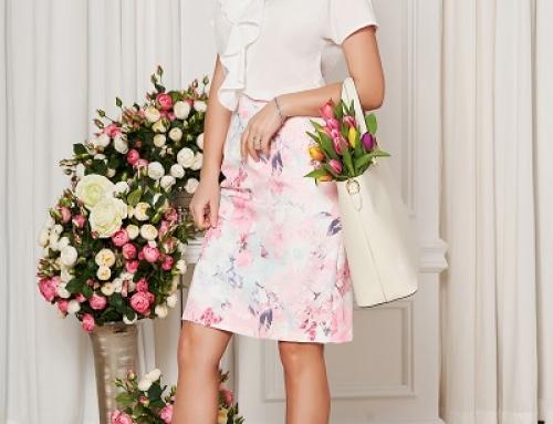 Fustă elegantă Claire Starshiners cu talie înaltă tip creion și imprimeu floral