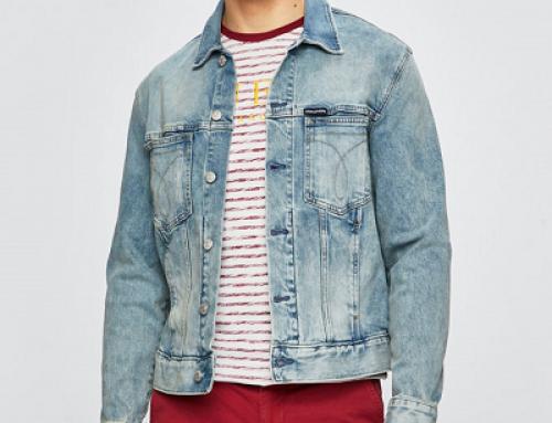 Jachetă Calvin Klein Jeans Westin HN9J scurtă din denim pentru bărbați, albastră