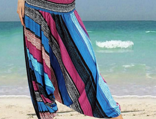 Pantaloni damă de plajă Helena KVLSA largi harem cu imprimeu, elastici în talie