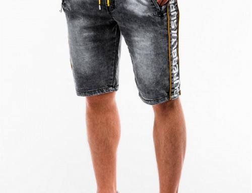 Pantaloni scurți bărbați Warren KBLSW din denim cu șnur și bandă elastică în talie