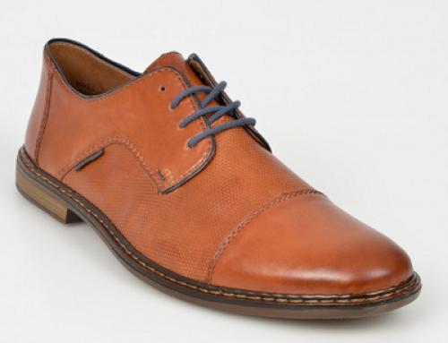 Pantofi Rieker JULWS pentru bărbați, maro, din piele naturală, cu șiret