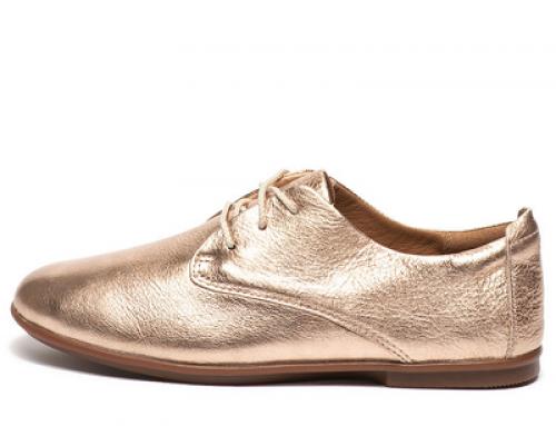 Pantofi Clarks Thea HLS de damă cu talpă joasă, din piele cu aspect metalizat