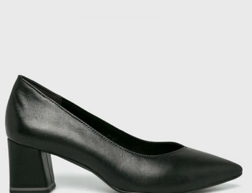 Pantofi damă Tamaris GJ7KS Erin office cu toc pătrat, din piele naturală, negri