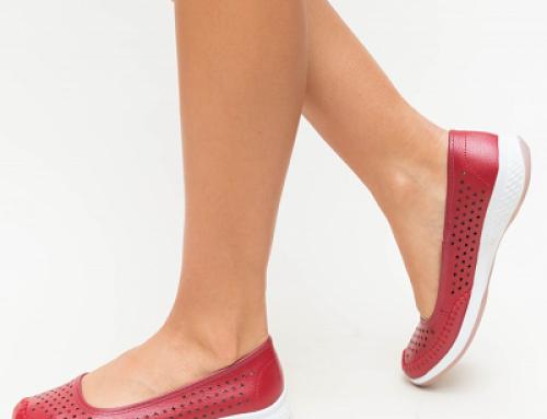 Pantofi Joelle NYJD Banto de damă casual fără toc din piele naturală, roșii