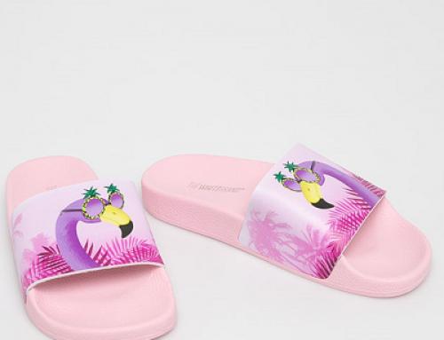 Papuci damă de plajă TheWhiteBrand FGHW Adira roz cu imprimeu multicolor
