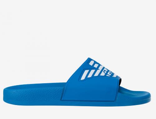 Papuci de plajă bărbați Emporio Armani JKLD Rowan albaștri cu talpă plată
