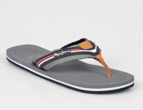 Papuci de plajă Pepe Jeans HT52-VDWQ pentru bărbați, gri, cu talpă plată