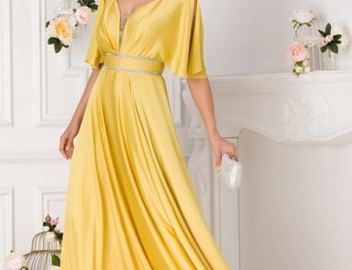 Rochie de ocazie lungă Aurora LDDSQ galbenă cu decolteu în V cu tull și pietre