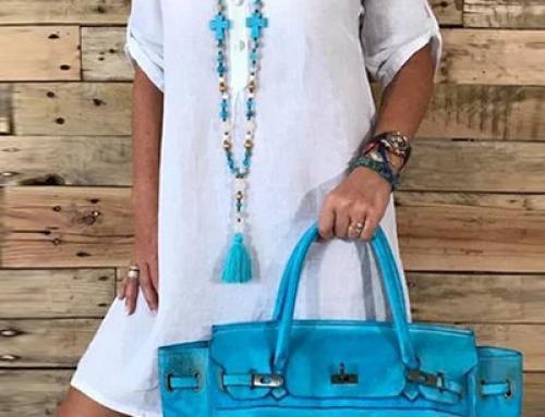 Rochie de plajă Mishka BVMX Corinne albă vaporoasă tip cămașă
