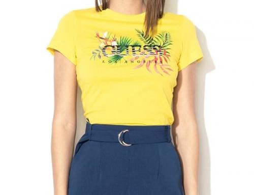Tricou damă GUESS JEANS VRMT Tanner galben din bumbac cu broderie și imprimeu