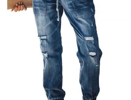 Blugi Jayme HW52MY Andree de damă cu manșete elastice și uzură decorativă