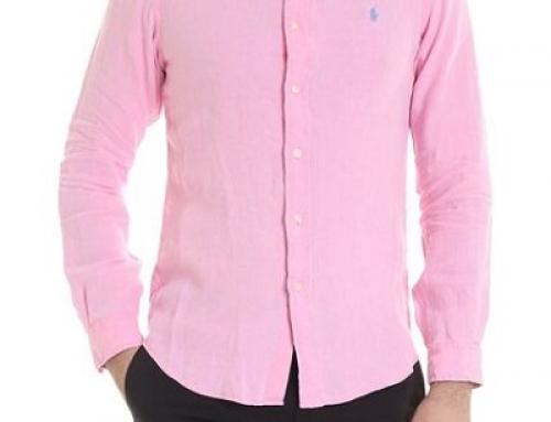 Cămașă pentru bărbați Ralph Lauren JMSQ-MLY roz din in, vaporoasă