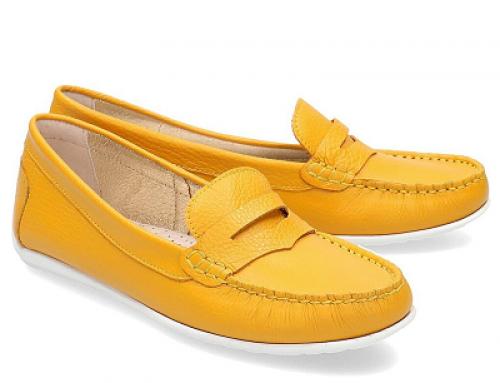 Mocasini damă galbeni Gino Rossi JMWQ Kori casual din piele naturală cu talpă plată