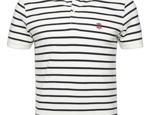 Tricou bărbați Selected KJ62LQ Aro stil Polo din bumbac cu imprimeu dungi
