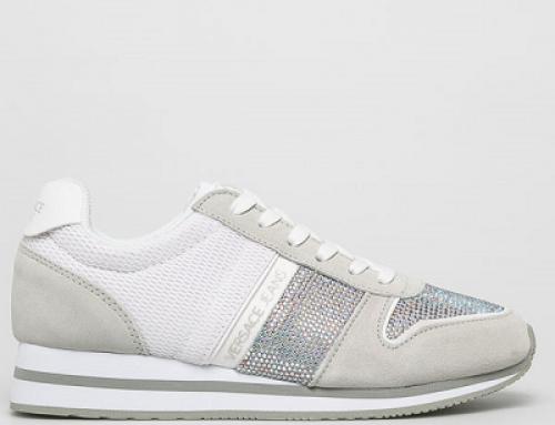 Pantofi sport de damă Versace Jeans KY58MQ cu piele naturală, albi