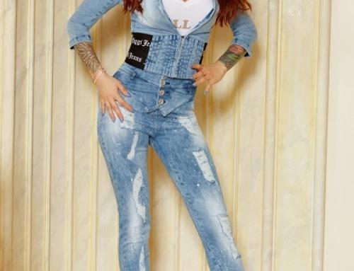 Blugi de damă Yasmine K-J25W elastici cu talie înaltă, albaștri, rupți decorativ