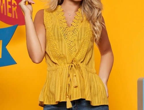 Bluză damă Top Secret VDQ5 Olga galbenă din bumbac cu dantelă și șnur în talie
