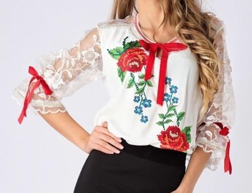 Bluză de damă Melany B-S25DQ albă lejeră cu broderie tradițională
