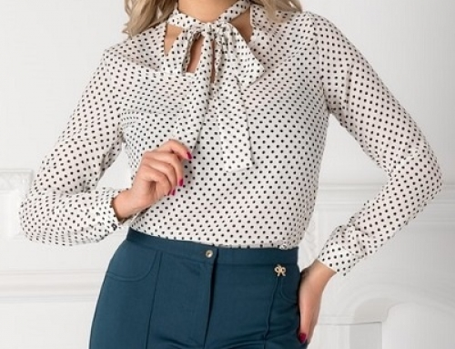 Bluză Marley HN53LQ elegantă de damă albă cu buline și guler tip eșarfă