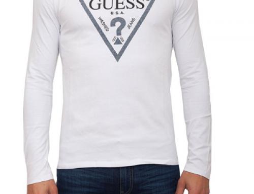 Bluză Guess MQJ65 Jacob casual pentru bărbați, albă, din bumbac