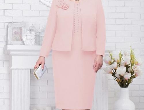 Compleu de seară Tianna K-D85W damă roz prăfuit cu perle aplicate, sacou și rochie