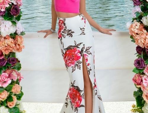 Fustă lungă elegantă Alexis J-N82LW tip sirenă cu imprimeu floral și decupaj