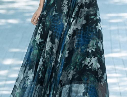 Fustă cu imprimeu Keely DQ58MW lungă vaporoasă stil vintage, albastră