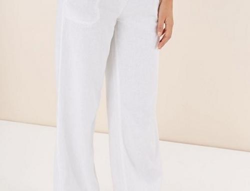 Pantaloni Next NGQ 5Halle de damă vaporoși albi din in și vâscoză, largi