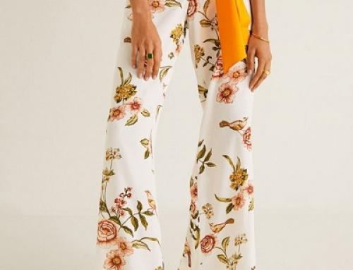 Pantaloni de damă Mango D-J57LQ Lexie vaporoși largi albi cu imprimeu floral