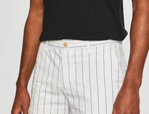 Pantaloni scurți bărbați Scotch & Soda KD58LQ albi din bumbac în dungi