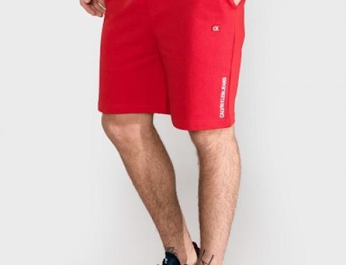 Pantaloni scurți Calvin Klein KMQW Tyler bărbați, roșii, din bumbac, stil sport