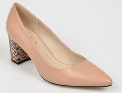 Pantofi damă eleganți Epica DLQKW din piele naturală cu vârf ascuțit și toc gros