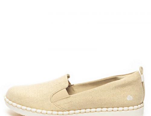 Pantofi de damă Clarks G-Q2G Shari de damă slip on cu tală plată, auriu deschis