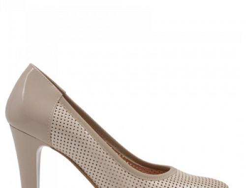 Pantofi de damă eleganți Kori J-V82SQ bej din piele naturală cu toc înalt
