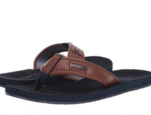 Papuci de plajă bărbați Tommy Hilfiger JU96LQ Dulaney maro cu talpă plată