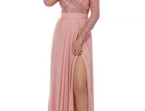 Rochie lungă de ocazie Taryn JMQ8S Darma roz din voal și dantelă, cu decolteu în V