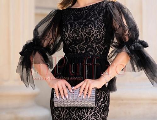 Rochie de ocazie Elissa LD11Q neagră din dantelă cu mâneci din tull și pietricele