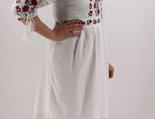 Rochie tradițională Tatyana HY58LQ vaporoasă albă din bumbac cu broderie cusută