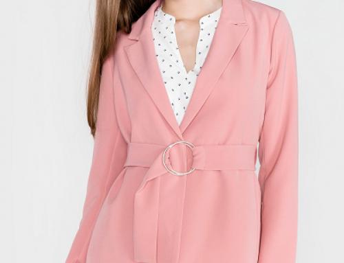 Sacou de damă Vila H-V2Q Lyca drept roz cu curea în talie