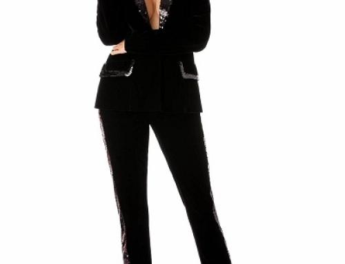Sacou damă de seară Elsa HY64MQ negru din catifea și cu paiete