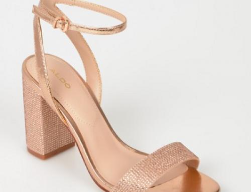 Sandale de damă elegante Aldo K-D8W Jazlyn aurii cu toc masiv