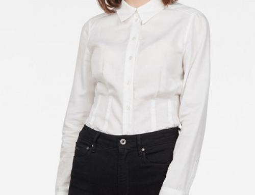 Cămașă G-Star Raw Cherie L-25MQ de damă office albă din bumbac, dreaptă