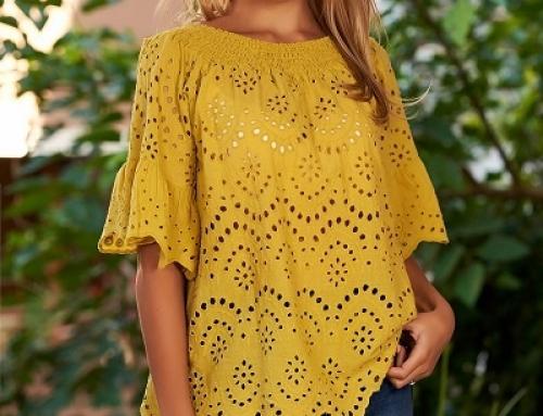 Bluză damă SunShine V-2DJQ Denise din bumbac cu mâneci tip clopot, muștar