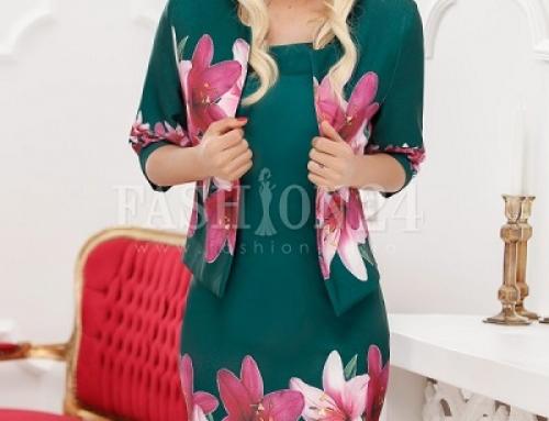 Costum damă office Julissa D-N47LQ cu imprimeu floral, verde cu rochie midi