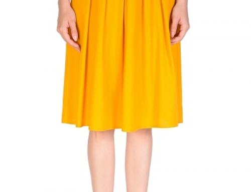 Fustă elegantă Y-Q44LQ Glenda galben muștar, midi, cu falduri în talie
