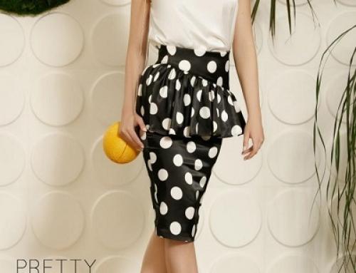 Fustă elegantă Samiya J-V52DQ satinată din material satinat cu buline albe