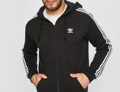 Hanorac Adidas Originals J-MS58EW bărbați cu glugă din bumbac, negru