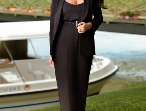 Pantaloni damă office Caroline J-L47LQ negri cu talie înaltă și curea