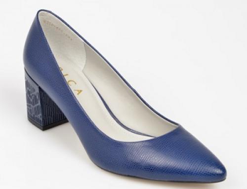 Pantofi office Epica J-Q25LW Brazil de damă cu toc masiv, din piele naturală, bleumarin